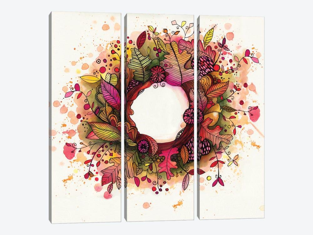 Autumn Wreath by Tamara Laporte 3-piece Canvas Print