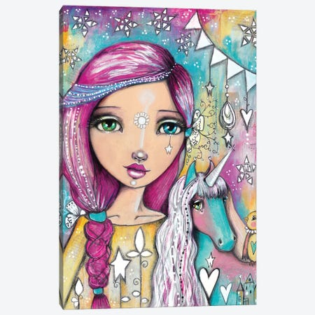 Unicorn Girl Canvas Print #LPR232} by Tamara Laporte Canvas Art Print