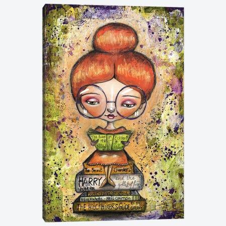 Book Worm Girl Canvas Print #LPR37} by Tamara Laporte Art Print
