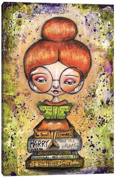 Book Worm Girl Canvas Art Print