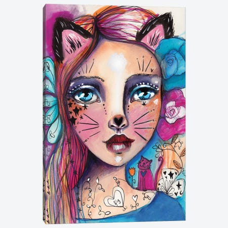 Cat Girlie Canvas Print #LPR43} by Tamara Laporte Canvas Print