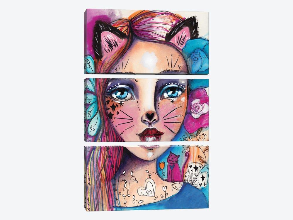 Cat Girlie by Tamara Laporte 3-piece Canvas Art Print