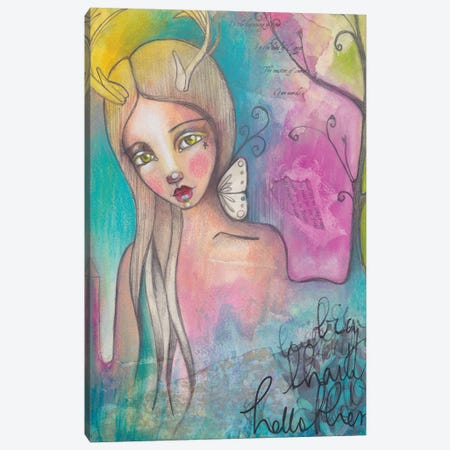 Deer Lady Canvas Print #LPR55} by Tamara Laporte Art Print