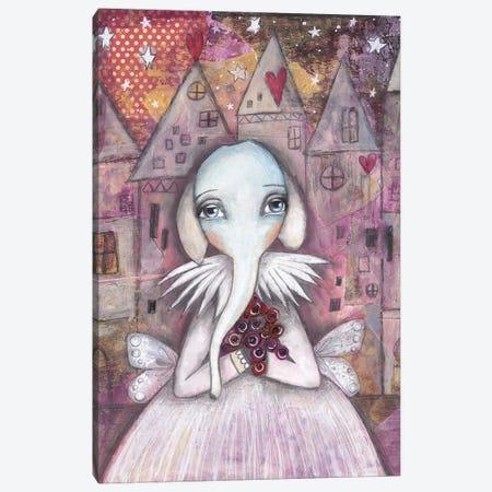 Elephant With Roses Canvas Print #LPR60} by Tamara Laporte Canvas Art Print