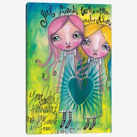 Girlfriends-Look After Each Other Canvas Print #LPR76} by Tamara Laporte Canvas Print