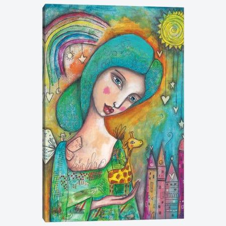 Girl With Giraffe Canvas Print #LPR80} by Tamara Laporte Canvas Art Print