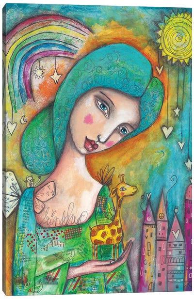 Girl With Giraffe Canvas Art Print