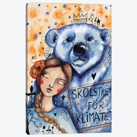 Greta And The Polar Bear Canvas Print #LPR84} by Tamara Laporte Canvas Artwork