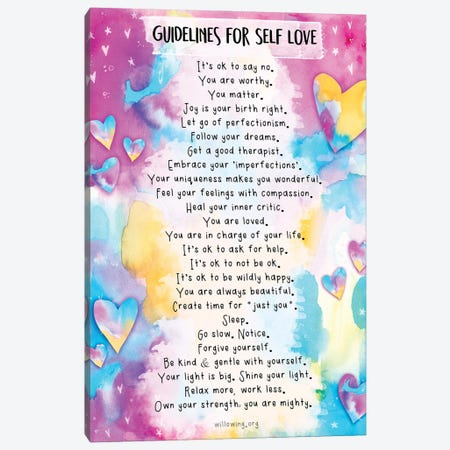 Guidelines For Self-Love Canvas Print #LPR87} by Tamara Laporte Canvas Artwork