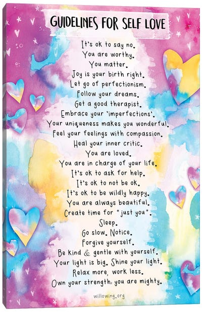 Guidelines For Self-Love Canvas Art Print