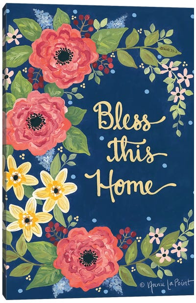 Floral Bless This Home Canvas Art Print