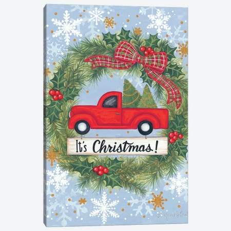 Red Truck Christmas Canvas Print #LPT26} by Annie LaPoint Canvas Art