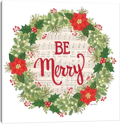 Be Merry Holiday Wreath Canvas Art Print