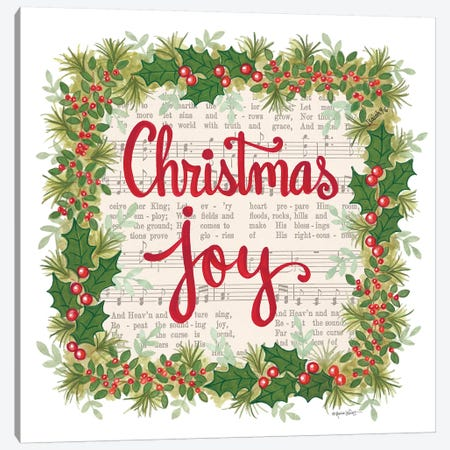 Christmas Joy Holiday Wreath Canvas Print #LPT33} by Annie LaPoint Canvas Wall Art