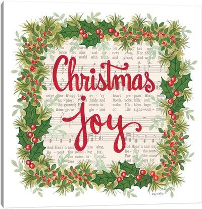 Christmas Joy Holiday Wreath Canvas Art Print