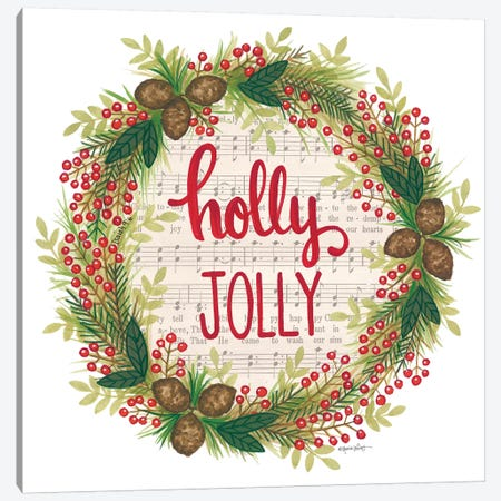 Holly Jolly Holiday Wreath Canvas Print #LPT34} by Annie LaPoint Canvas Art Print