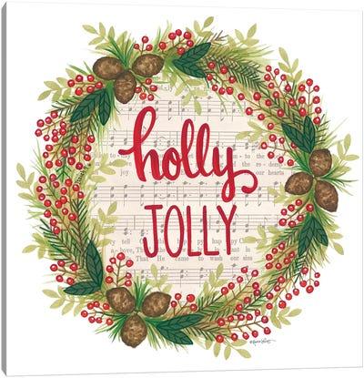 Holly Jolly Holiday Wreath Canvas Art Print
