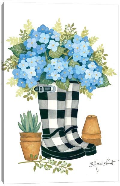Hydrangeas Boots Canvas Art Print