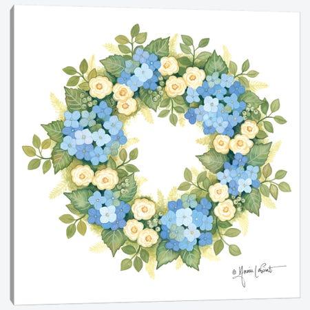 Hydrangeas in Bloom Wreath Canvas Print #LPT43} by Annie LaPoint Art Print