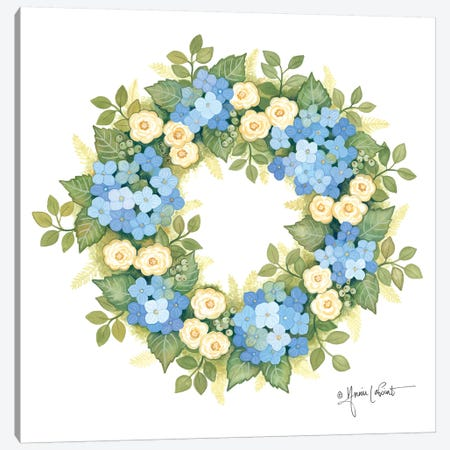 Hydrangeas in Bloom Wreath Canvas Print #LPT43} by Annie LaPoint Art Print