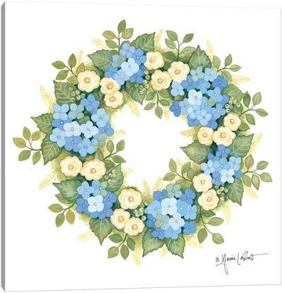 Hydrangeas in Bloom Wreath Canvas Art Print