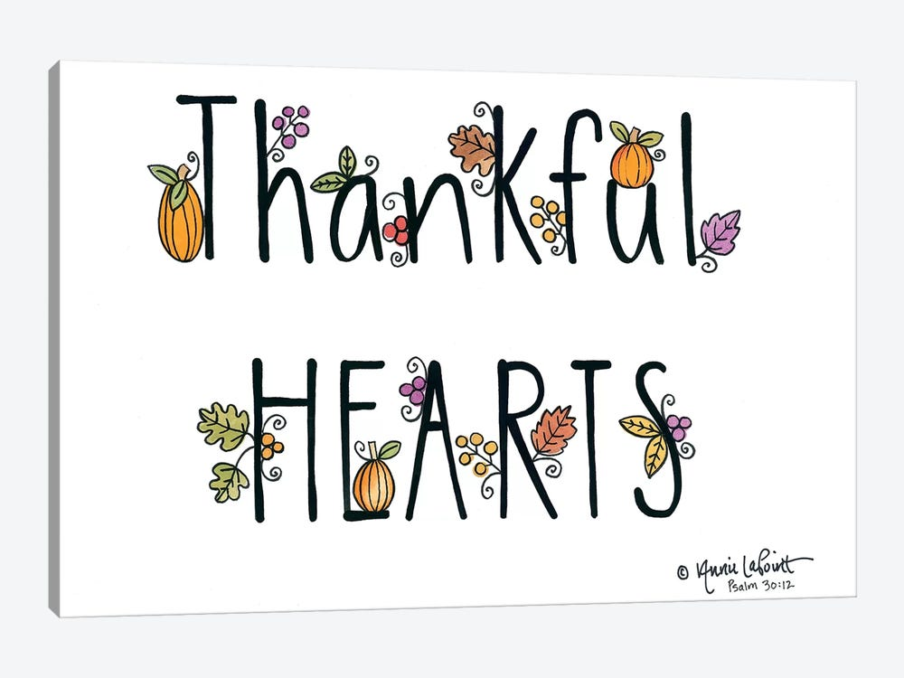 Thankful Hearts 1-piece Canvas Artwork