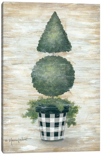 Gingham Topiary Cone Canvas Art Print