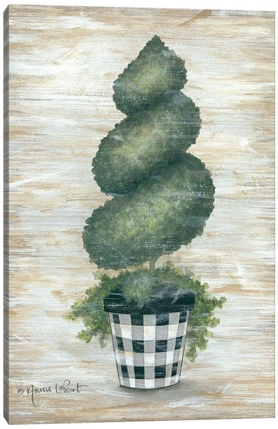 Gingham Topiary Spiral Canvas Art Print