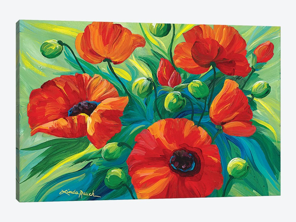 Oriental Poppies by Linda Rauch 1-piece Canvas Art Print