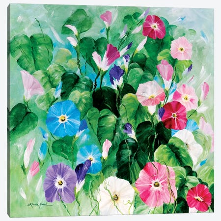 Morning Glory Bouquet Canvas Print #LRA52} by Linda Rauch Canvas Wall Art