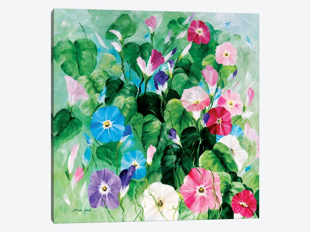 Morning Glory Bouquet by Linda Rauch 1-piece Canvas Wall Art