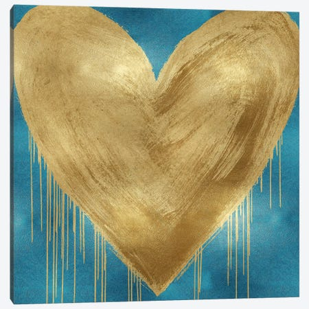 Big Hearted Gold on Aqua Canvas Print #LRD10} by Lindsay Rodgers Canvas Art Print