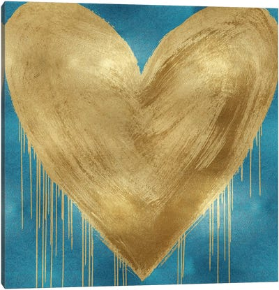 Big Hearted Gold on Aqua Canvas Art Print