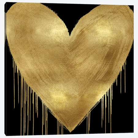 Big Hearted Gold on Black Canvas Print #LRD11} by Lindsay Rodgers Art Print