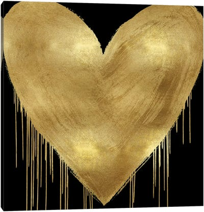 Big Hearted Gold on Black Canvas Art Print