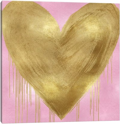 Big Hearted Gold on Pink Canvas Art Print