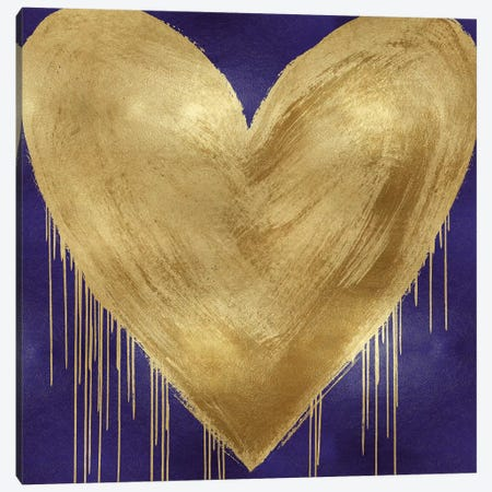 Big Hearted Gold on Purple Canvas Print #LRD13} by Lindsay Rodgers Art Print