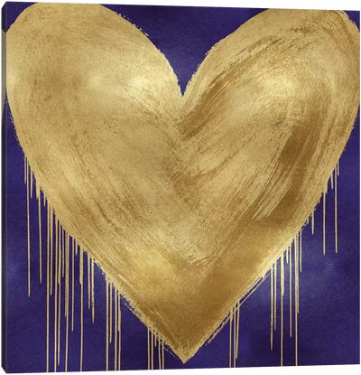 Big Hearted Gold on Purple Canvas Art Print