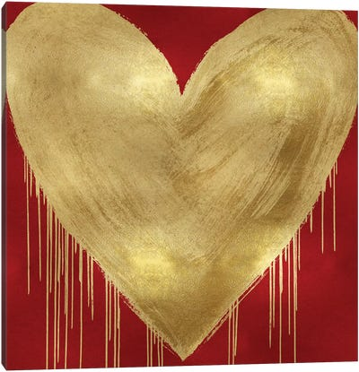 Big Hearted Gold on Red Canvas Art Print