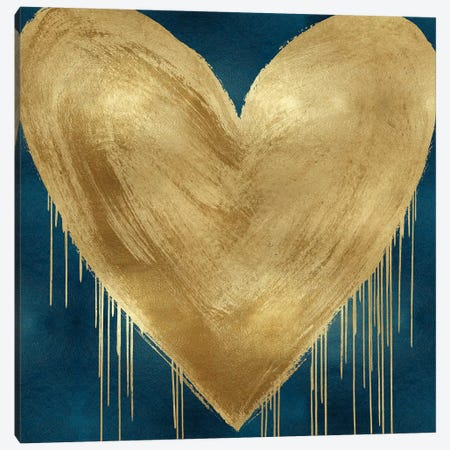 Big Hearted Gold on Teal Canvas Print #LRD15} by Lindsay Rodgers Canvas Artwork
