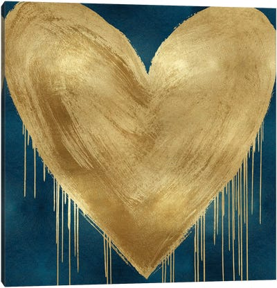 Big Hearted Gold on Teal Canvas Art Print