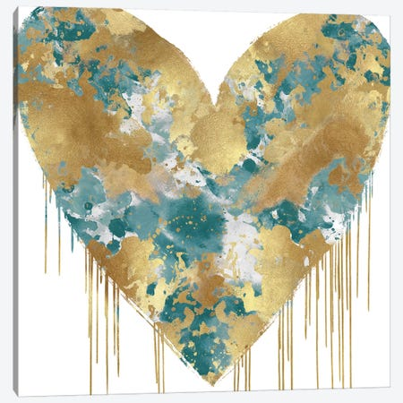 Big Hearted Green and Gold Canvas Print #LRD16} by Lindsay Rodgers Canvas Artwork