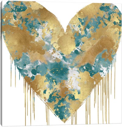 Big Hearted Green and Gold Canvas Art Print
