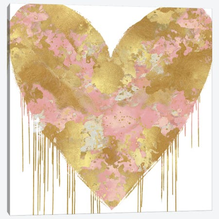 Big Hearted Pink and Gold Canvas Print #LRD18} by Lindsay Rodgers Canvas Art Print