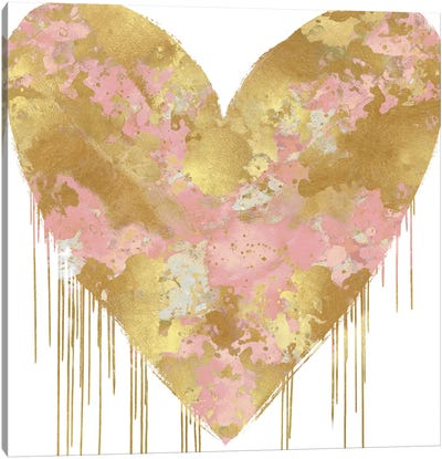 Big Hearted Pink and Gold Canvas Art Print