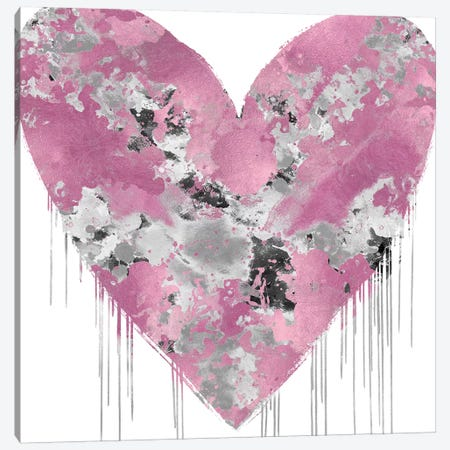 Big Hearted Pink and Silver Canvas Print #LRD19} by Lindsay Rodgers Art Print