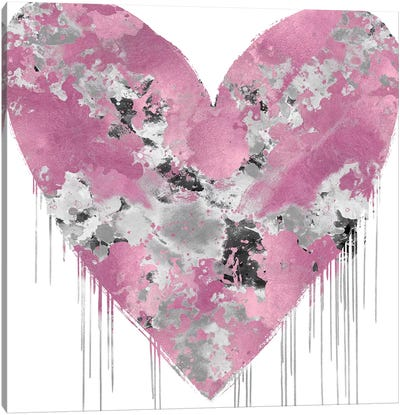 Big Hearted Pink and Silver Canvas Art Print