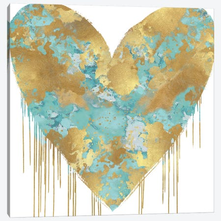 Big Hearted Aqua and Gold Canvas Print #LRD1} by Lindsay Rodgers Art Print
