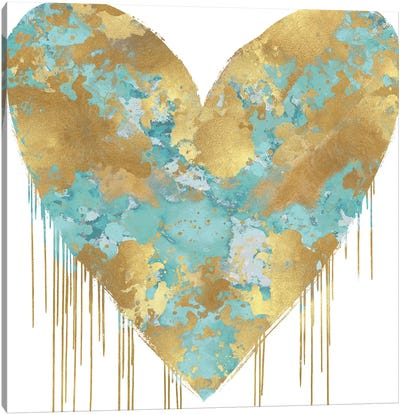 Big Hearted Aqua and Gold Canvas Art Print