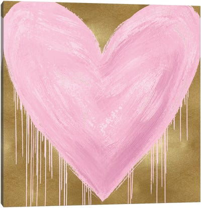 Big Hearted Pink on Gold Canvas Art Print